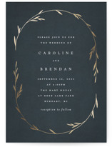 This is a blue foil stamped wedding invitation by Kelly Schmidt called Oval Botanical with foil-pressed printing on signature in standard.
