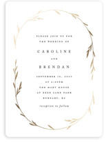 This is a white foil stamped wedding invitation by Kelly Schmidt called Oval Botanical with foil-pressed printing on signature in standard.
