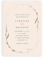 This is a pink foil stamped wedding invitation by Kelly Schmidt called Oval Botanical with foil-pressed printing on signature in standard.