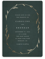 This is a green foil stamped wedding invitation by Kelly Schmidt called Oval Botanical with foil-pressed printing on signature in standard.
