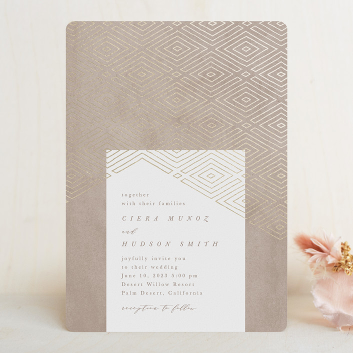 """""""Geometrica"""" - Bohemian Foil-pressed Wedding Invitations in Sand by Owl and Toad."""