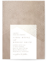 This is a brown foil stamped wedding invitation by Owl and Toad called Geometrica with foil-pressed printing on signature in standard.
