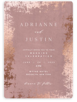 This is a pink foil stamped wedding invitation by Eric Clegg called Woodland Hills with foil-pressed printing on signature in standard.