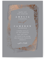 This is a grey foil stamped wedding invitation by Susan Zinader called galerie with foil-pressed printing on signature in standard.