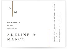 This is a white foil stamped wedding invitation by Pixel and Hank called Suited with foil-pressed printing on signature in standard.