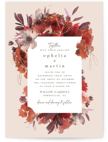 Autumn Hymnal Foil-Pressed Wedding Invitations