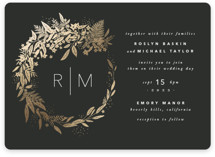 This is a black foil stamped wedding invitation by Leah Bisch called Gather with foil-pressed printing on signature in standard.