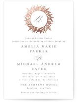 This is a white foil stamped wedding invitation by Katharine Watson called Monogram Wreath with foil-pressed printing on signature in standard.