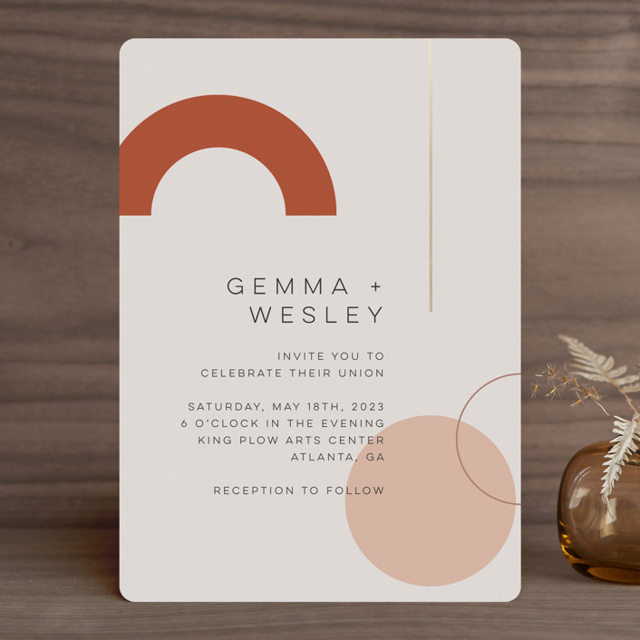"""""""Bauhaus Shapes"""" - Modern Foil-pressed Wedding Invitations in Terracotta by Morgan Kendall."""