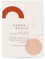 This is a orange foil stamped wedding invitation by Morgan Kendall called Bauhaus Shapes with foil-pressed printing on signature in standard.