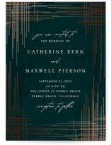 This is a green foil stamped wedding invitation by Erin Deegan called Criss Cross with foil-pressed printing on signature in standard.