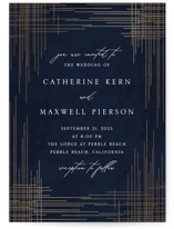 This is a blue foil stamped wedding invitation by Erin Deegan called Criss Cross with foil-pressed printing on signature in standard.