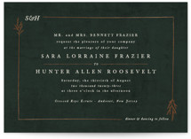 This is a green foil stamped wedding invitation by Sarah Brown called Organic Border with foil-pressed printing on signature in standard.