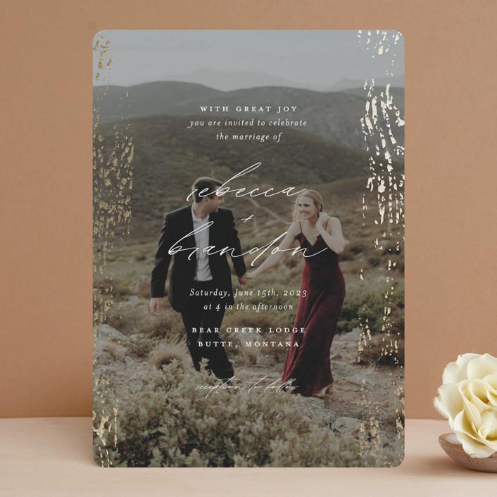 """Rustic Dream"" - Foil-pressed Wedding Invitations in Quartz by Beth Murphy."