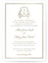 This is a white foil stamped wedding invitation by Mansi Verma called Chic Monogram with foil-pressed printing on signature in standard.