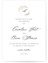 This is a beige foil stamped wedding invitation by Lori Wemple called Monogram Calligraphy with foil-pressed printing on signature in standard.