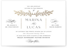 This is a white foil stamped wedding invitation by Carolyn Nicks called endearing with foil-pressed printing on signature in standard.