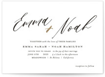 This is a white foil stamped wedding invitation by Benita Crandall called A Touch of Gold with foil-pressed printing on signature in standard.