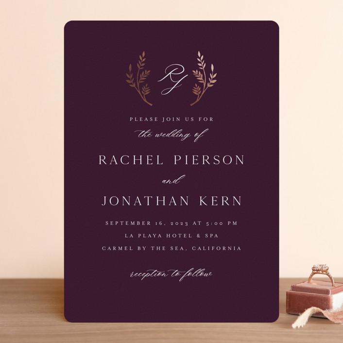 """traditional monogram"" - Foil-pressed Wedding Invitations in Merlot by Erin Deegan."