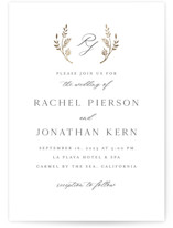 This is a white foil stamped wedding invitation by Erin Deegan called traditional monogram with foil-pressed printing on signature in standard.