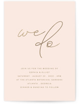 This is a pink foil stamped wedding invitation by Angela Thompson called Simple Elegance with foil-pressed printing on signature in standard.