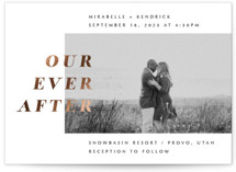 This is a black foil stamped wedding invitation by Up Up Creative called Our Ever After with foil-pressed printing on signature in standard.