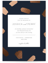 This is a blue foil stamped wedding invitation by Sweet Annie called Little Brush with foil-pressed printing on signature in standard.