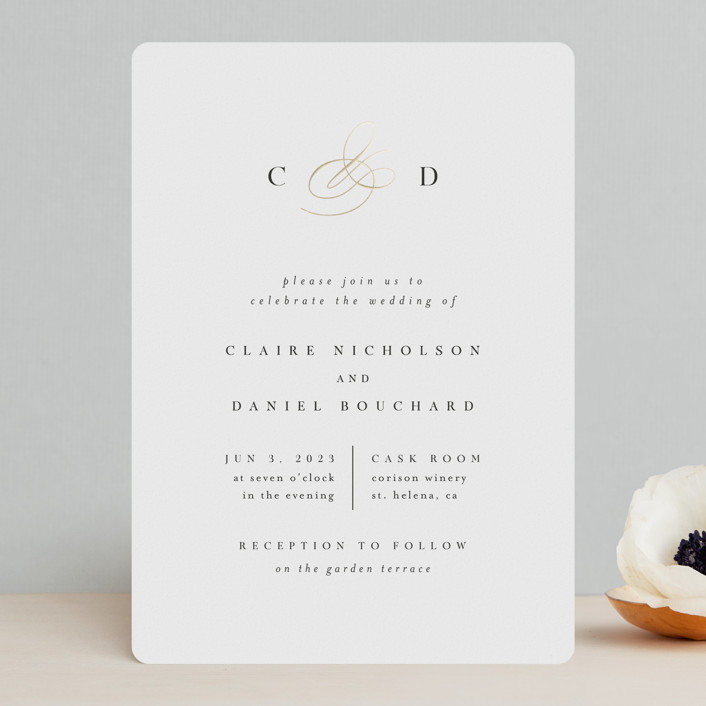 """Elegant Monogram"" - Foil-pressed Wedding Invitations in Ivory by Kelly Schmidt."