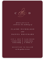 This is a red foil stamped wedding invitation by Kelly Schmidt called Elegant Monogram with foil-pressed printing on signature in standard.