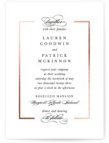 This is a black foil stamped wedding invitation by Kimberly FitzSimons called Preamble with foil-pressed printing on signature in standard.
