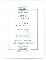 This is a blue foil stamped wedding invitation by Kimberly FitzSimons called Preamble with foil-pressed printing on signature in standard.