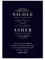 This is a black foil stamped wedding invitation by Hooray Creative called Modern Deco with foil-pressed printing on signature in standard.