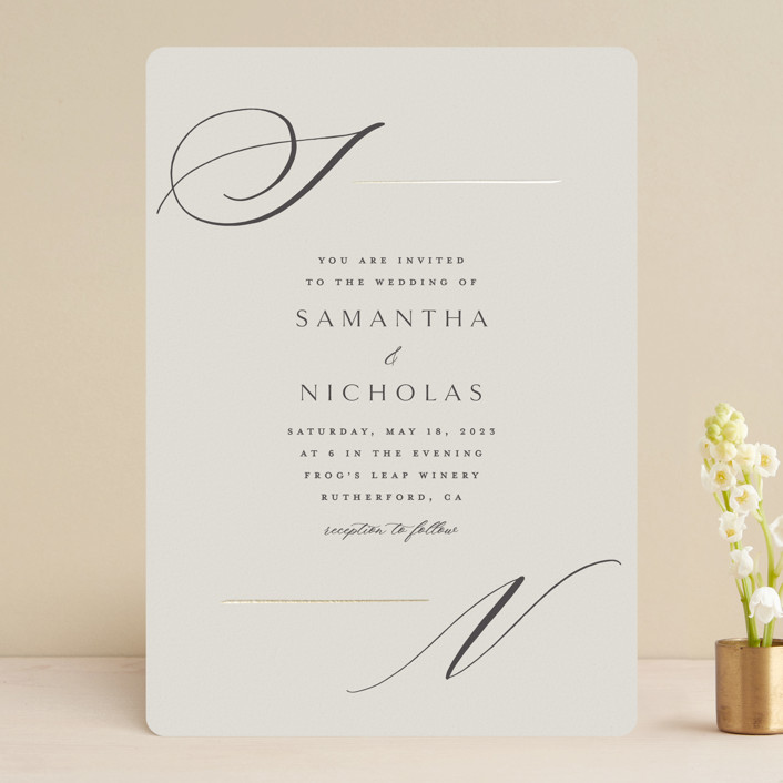 """""""Eloquent"""" - Foil-pressed Wedding Invitations in Champagne by Carolyn Nicks."""
