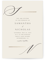 This is a beige foil stamped wedding invitation by Carolyn Nicks called Eloquent with foil-pressed printing on signature in standard.