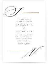This is a white foil stamped wedding invitation by Carolyn Nicks called Eloquent with foil-pressed printing on signature in standard.