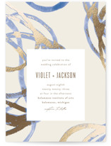 This is a blue foil stamped wedding invitation by Pixel and Hank called Expressive with foil-pressed printing on signature in standard.
