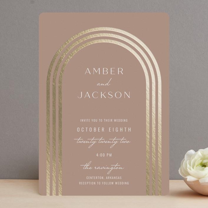 """Eternal Love"" - Foil-pressed Wedding Invitations in Rose Dust by Brittany Braithwaite."