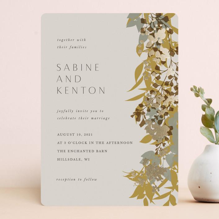 """Native Botanical"" - Foil-pressed Wedding Invitations in Honeysuckle by Corinne Malesic."