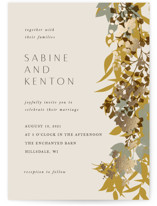 This is a beige foil stamped wedding invitation by Corinne Malesic called Native Botanical with foil-pressed printing on signature in standard.