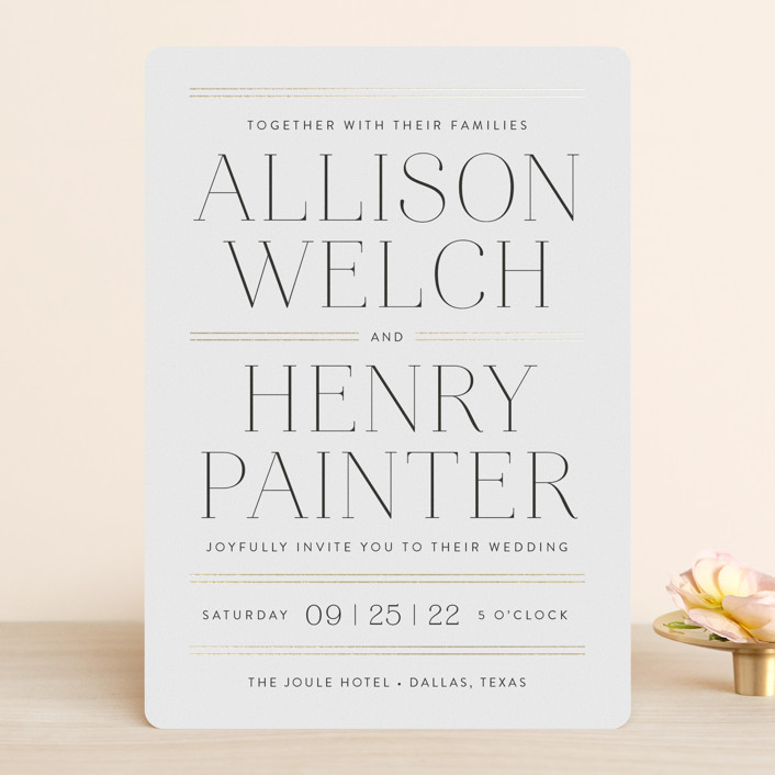 """""""Aligned"""" - Foil-pressed Wedding Invitations in Purity by Susan Asbill."""