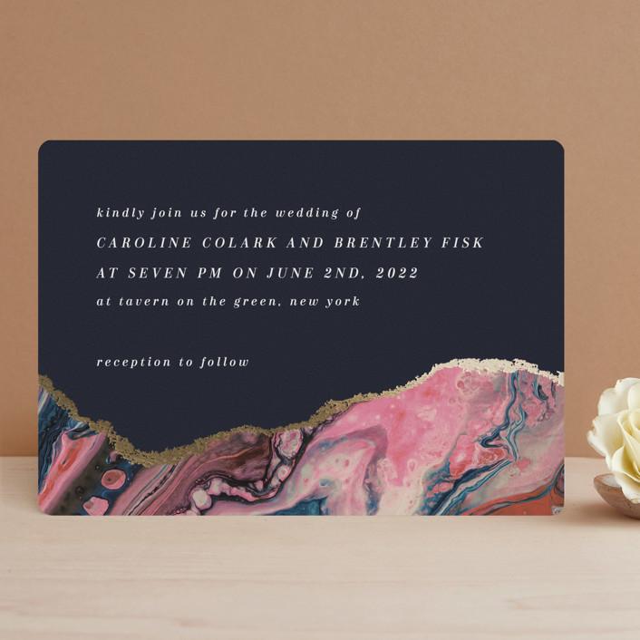 """moonstone"" - Foil-pressed Wedding Invitations in Moon by Lori Wemple."