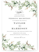 This is a green foil stamped wedding invitation by Jennifer Postorino called Trailing Vine with foil-pressed printing on signature in standard.