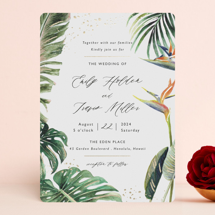 """""""Our Paradise"""" - Foil-pressed Wedding Invitations in Tropical by Elly."""