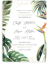 This is a green foil stamped wedding invitation by Elly called Our Paradise with foil-pressed printing on signature in standard.