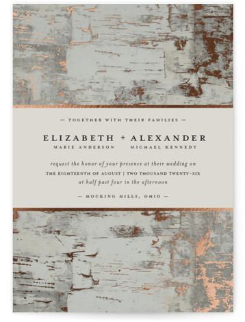Gilded birch bark Foil-Pressed Wedding Invitations