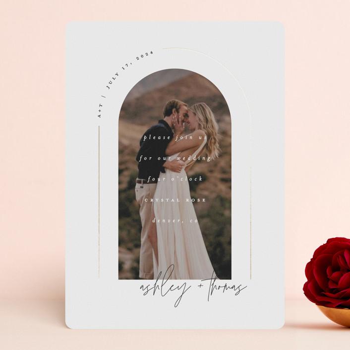 """Arch"" - Foil-pressed Wedding Invitations in Silk by Kelly Schmidt."