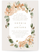 This is a beige foil stamped wedding invitation by Leah Bisch called Bloom with foil-pressed printing on signature in standard.