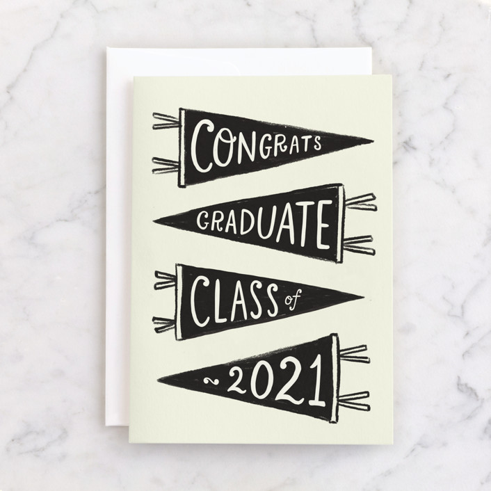 """Pennants"" - Individual Graduation Greeting Cards in Ink by Rachel K. Swanson."