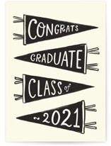 This is a black graduation card by Rachel K. Swanson called Pennants with standard printing on signature in greeting cards.