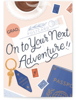 This is a pink graduation card by Paper Raven Co. called Going Places with standard printing on signature in greeting cards.